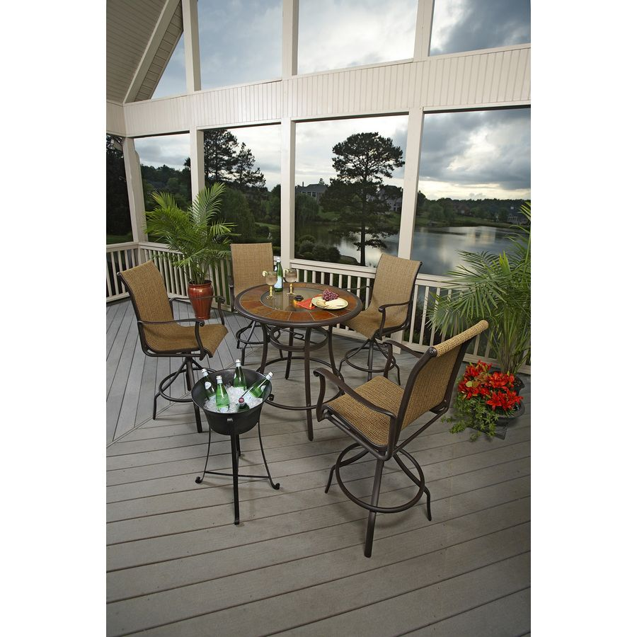 Shop allen + roth Safford Brown Aluminum Patio Barstool