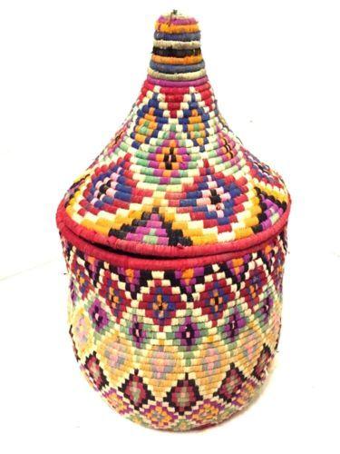 Storage Basket Moroccan basket berber basket african  Braiding basket Handwoven Basket