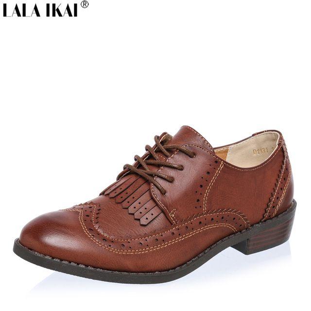 2016 Sapatos Oxford para As Mulheres de Couro Macio Estilo Britânico Retro Saltos Quadrados Rendas até Sapatos Casuais Mulher Oxfords Preto XWB0006-5