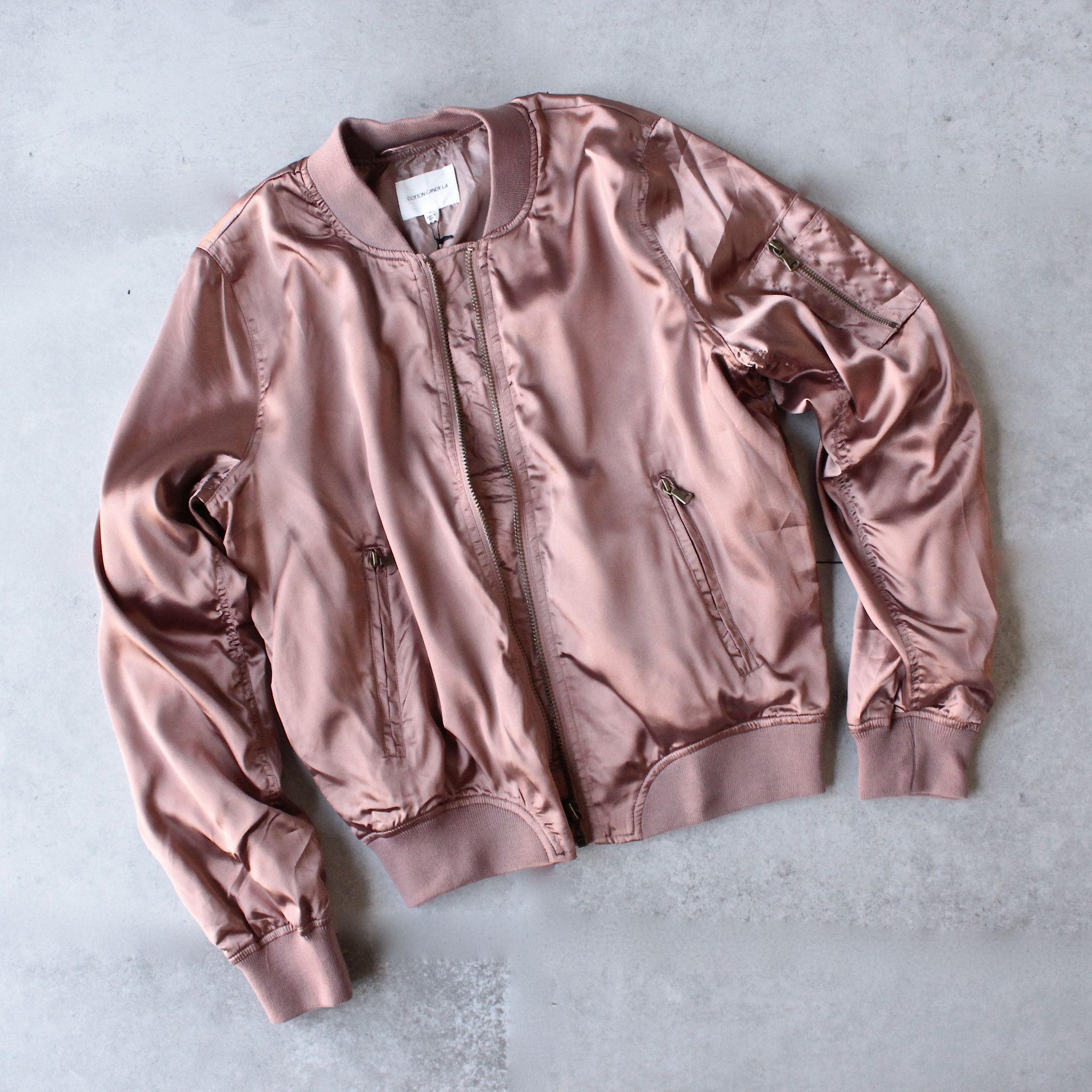 Leather jacket with roses - Lightweight Satin Bomber Jacket Rose Gold