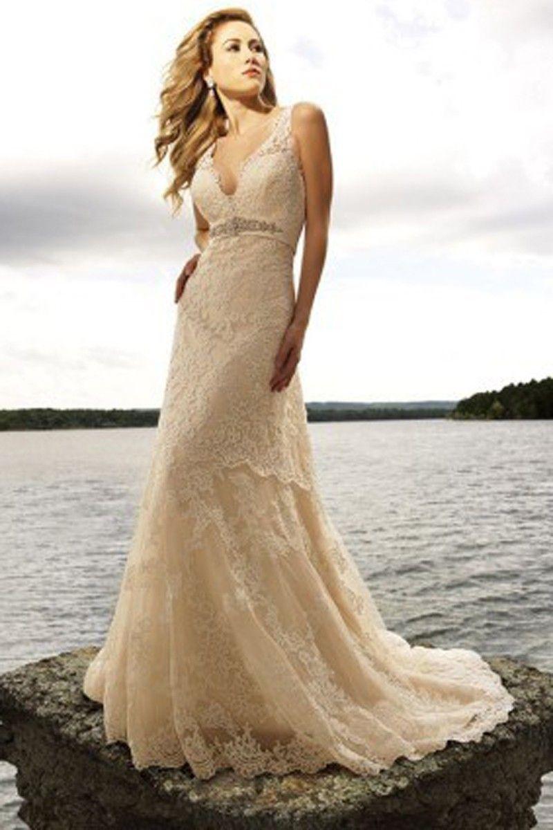 Champagne and ivory wedding dress  Aline Straps Rhinestone Sleeveless Court Trains Lace Wedding Dress
