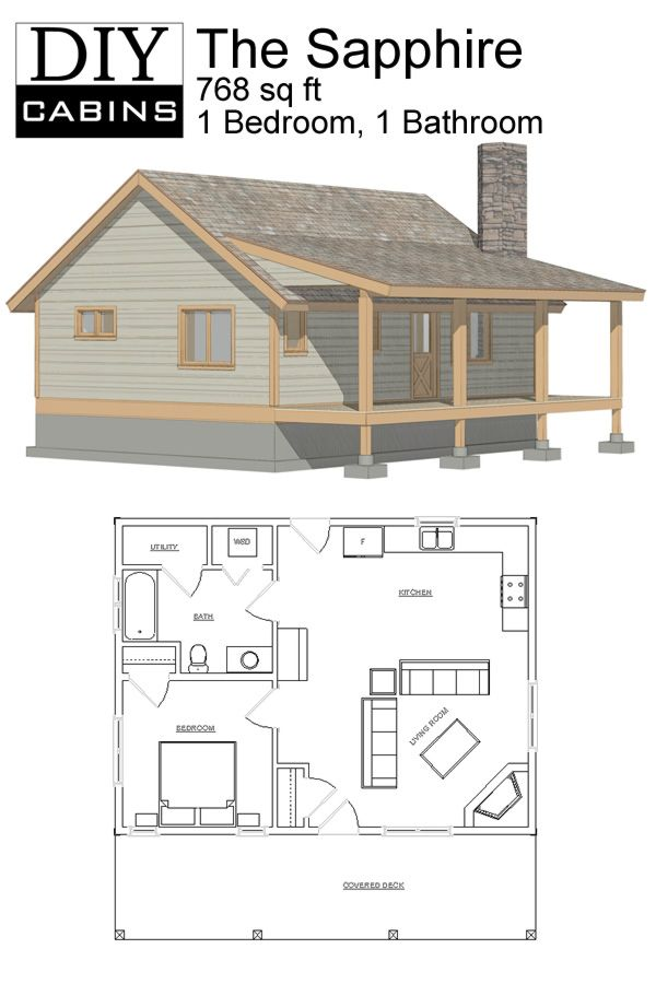Diy cabins the sapphire cabin house plans small for Log cabin floor plans with 2 bedrooms and loft