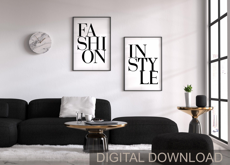 Fashion Logo Modern Wall Art Home Decor Fashion Poster Set Etsy Wall Printables Art Print Set Wall Art Sets