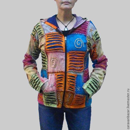 Этническая одежда ручной работы. Ярмарка Мастеров - ручная работа. Купить Кофта из хлопка с капюшоном в этно стиле.. Handmade. Комбинированный