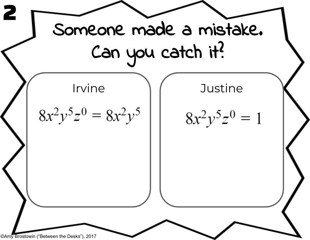Students Love To Point Out Mistakes That Others Make In This Activity Students Will Move Around The Room And Look Teaching Exponents Teaching Algebra Exponents [ 816 x 1056 Pixel ]