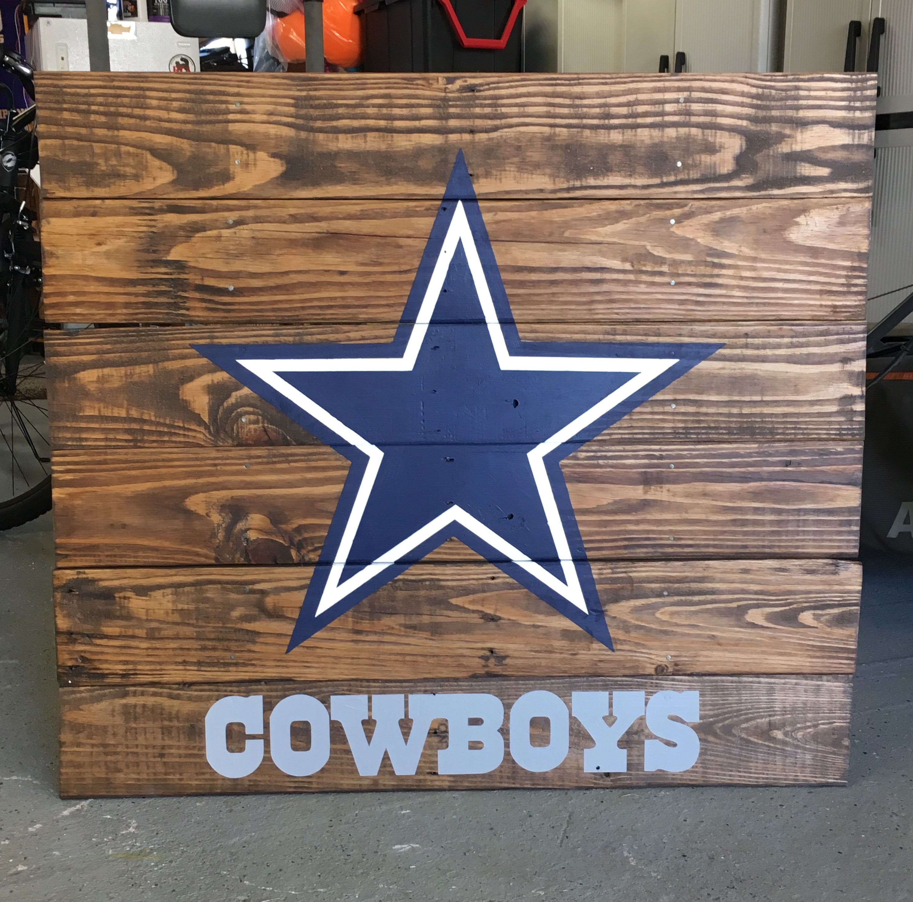 Dallas Cowboys Wooden Sign Stained And Painted Dallas Cowboys Decor Dallas Cowboys Signs Cowboy Decorations