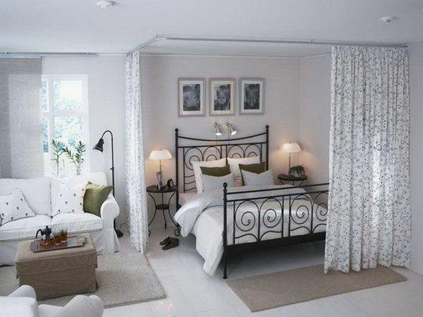offener wohnplan kleines schlafzimmer einrichten raumtrenner - einrichtungsideen perfekte schlafzimmer design
