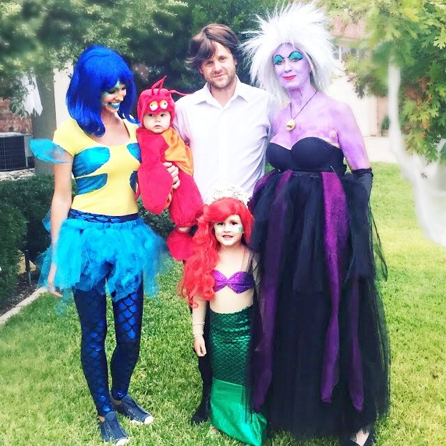 group halloween costumes. family costumes. little mermaid. ursula