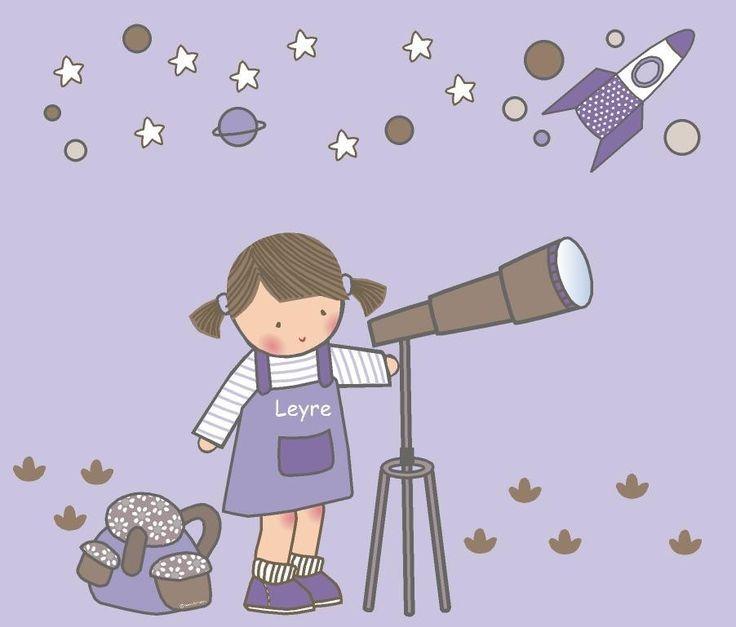 Nina Con Telescopio Vinilo Infantil Telescopio Para Ninos Telescopio Dibujo