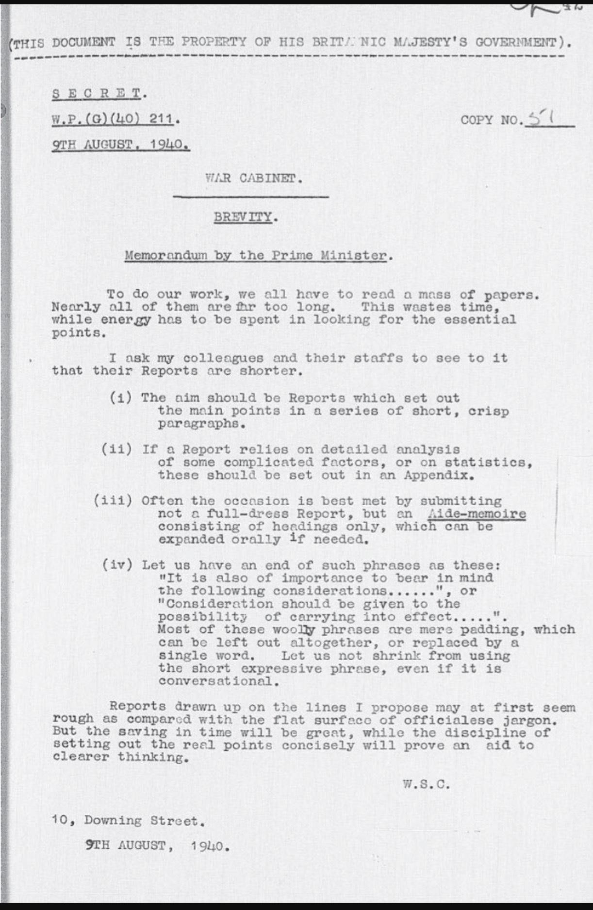 Original Memo On The Importance Of Clear And Brief Communication From Winston Churchill Kort