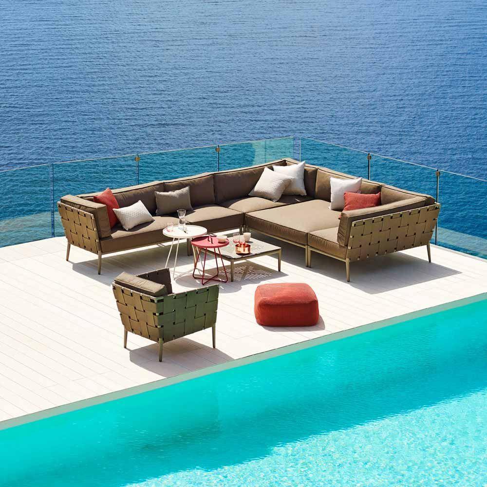 Cane Line Modulsofa Conic Grau Braun 2 Sitzer Sofa Maritime Mobel Aussen Lounge