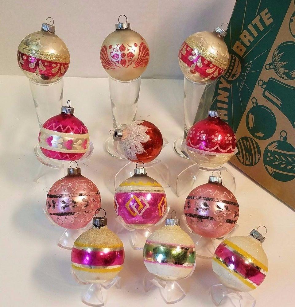 Mercury Balls Decorations 12 Vintage Christmas Shiny Brite Mica Ball Bauble Ornament Mercury