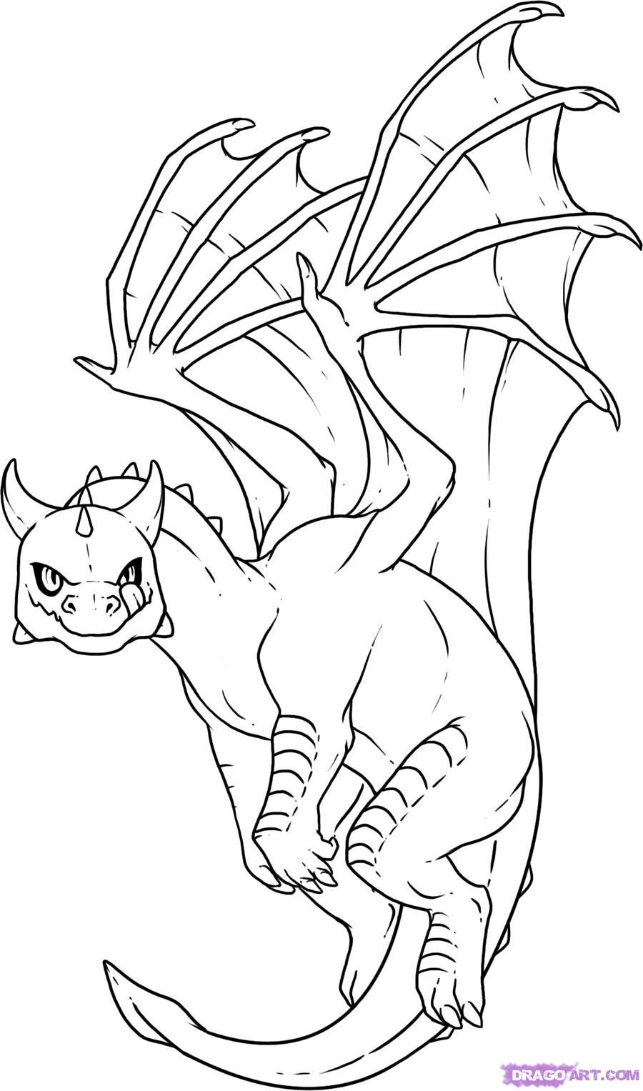 Dragon Coloring Pages | How to Draw Baby Dragon, Step by Step ...