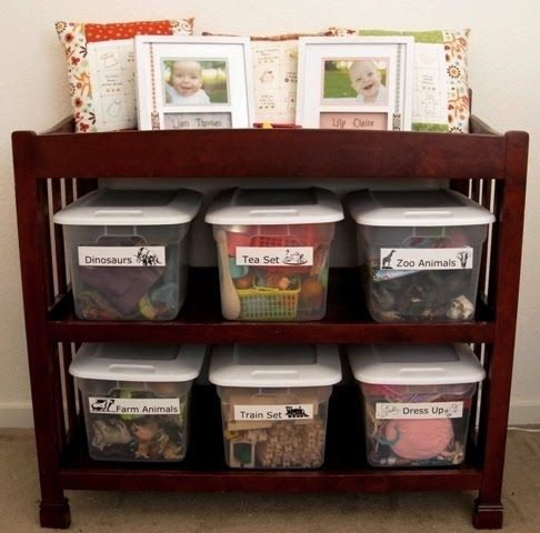 Label Your Containers So That You Can Save Time Trying To Look For Things Later Changing Table Repurpose Toy Organization Changing Table