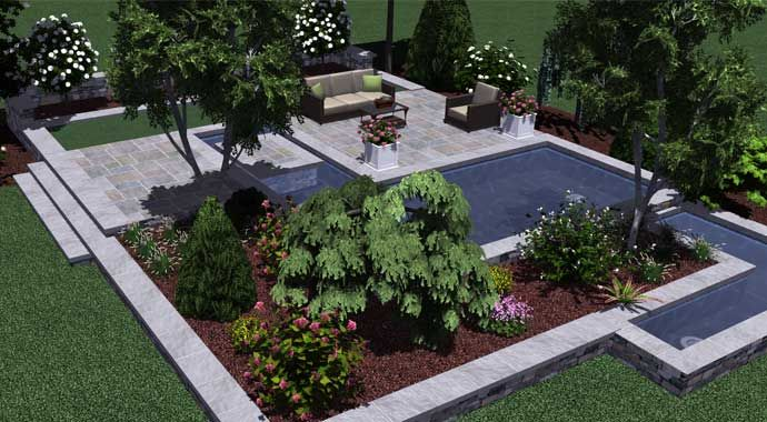 This 3d Landscape Design Template Patio Reflections Features A