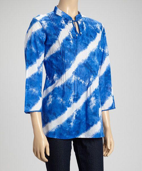 Lemongrass Cobalt Tie-Dye Stripe Top by Lemongrass #zulily #zulilyfinds