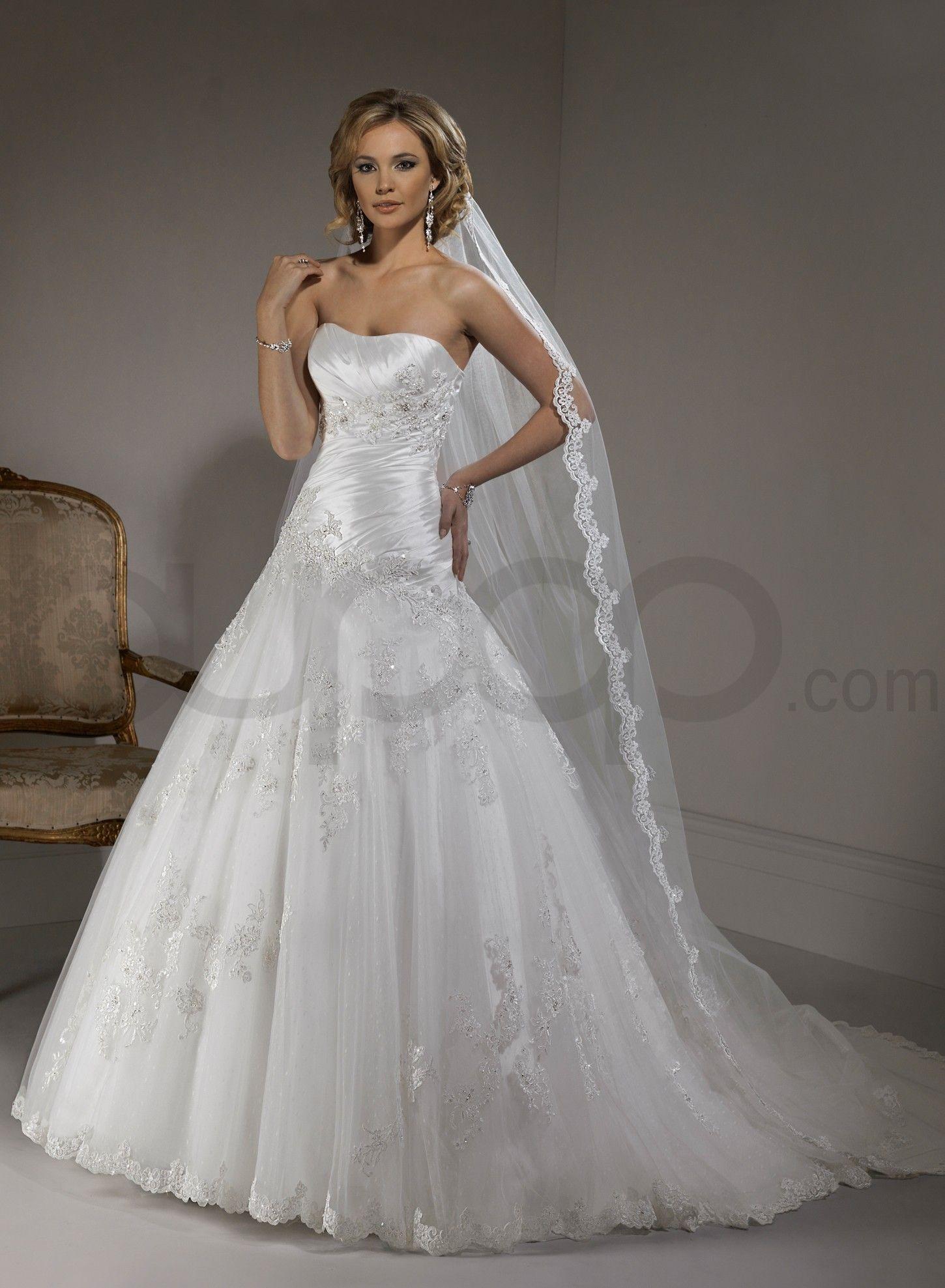 organza strapless dipped neckline a line wedding dress