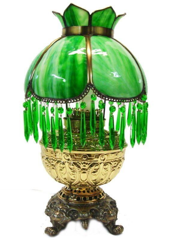Antique Victorian Rochester Kerosene Oil Slag Glass Parlor Table Lamp Prisms #Victorian #Rochester