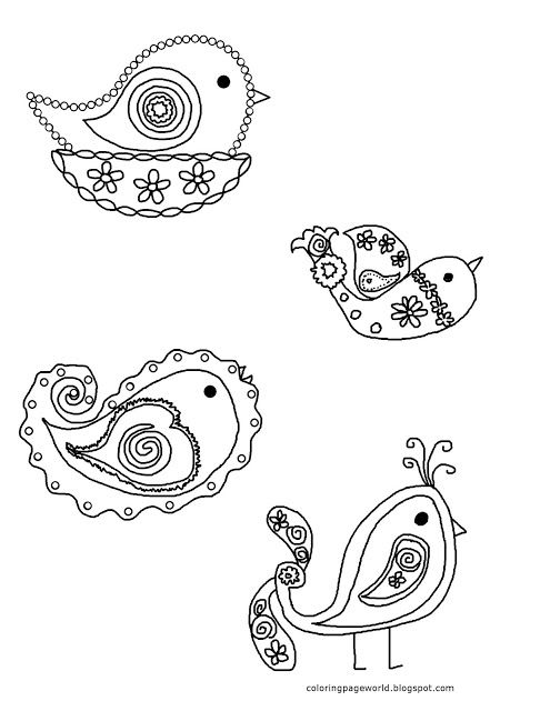 Coloring Page World Paisley Birds Free Printable Coloring Pages