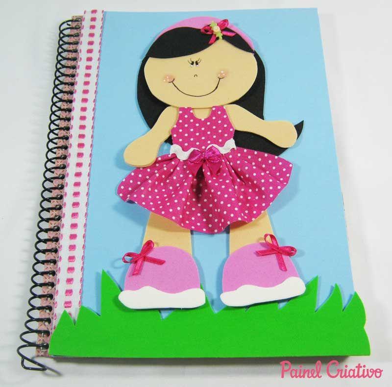 como fazer capa caderno eva menina escola (3) goma eva Pinterest Caderno eva, Caderno e ~ Menina De Eva