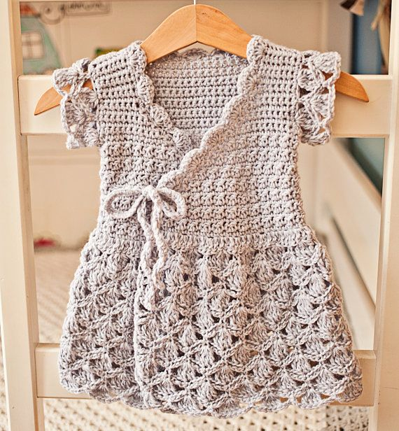 Crochet dress PATTERN - Lavender Wrap Dress (sizes up to 8 years ...