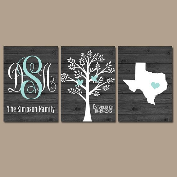 Monogram Wall Art family tree wall art- personalized monogram canvas or print