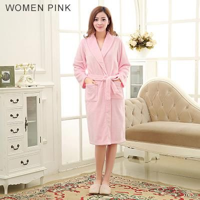 Hot Sale Lovers Silk Flannel Warm Long Bathrobe Women Dressing Gown ...