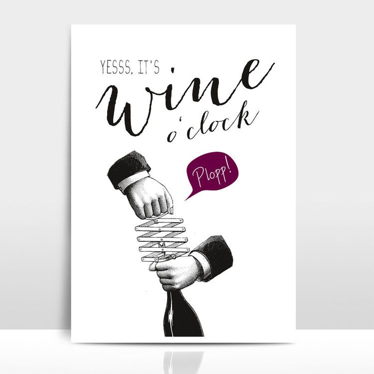 "A3 Artprint Typoprint Illustration ""Wine O'Clock"" Wein Poster"