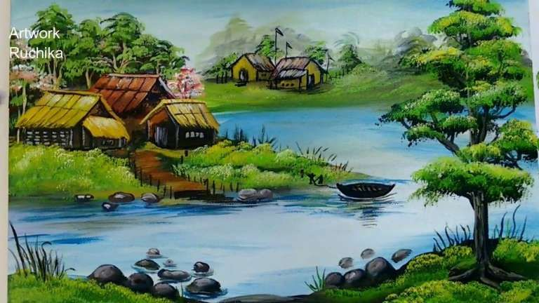 17 Beautiful Natural Scenery Of Village Nature Drawing In 2020 With Images Scenery Paintings Beautiful Scenery Paintings Landscape Paintings