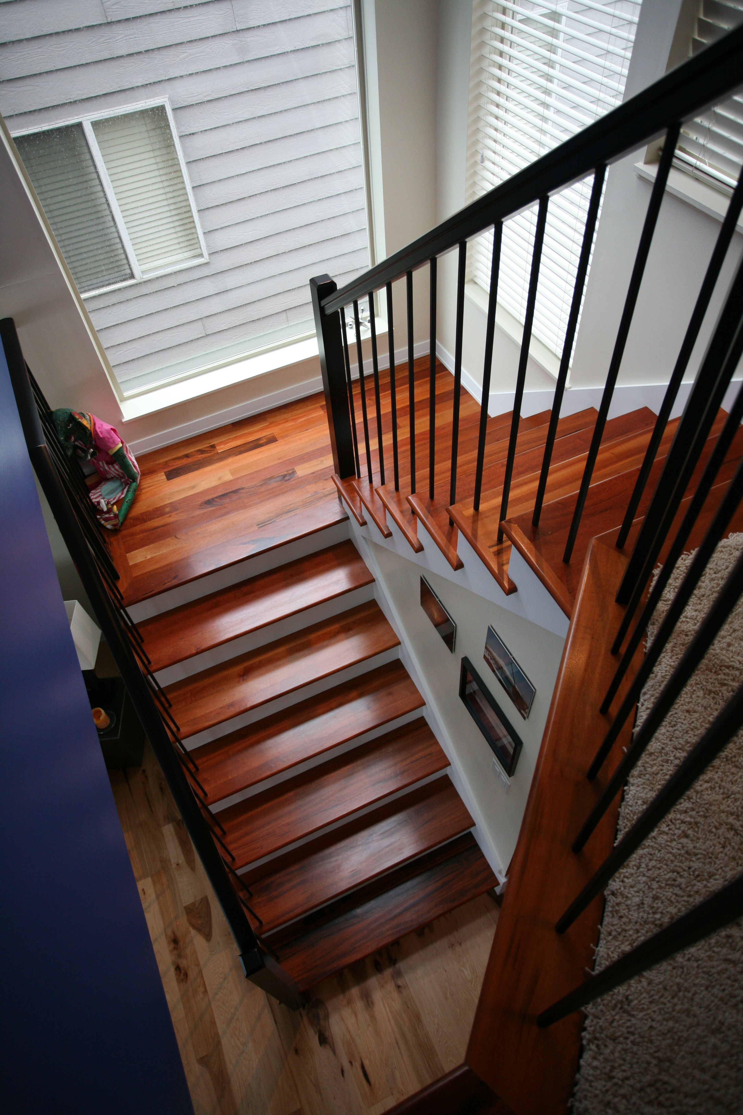 Wrought Iron Stairway Railing Tigerwood Treads Calico Hickory - Contemporary stair railing banister