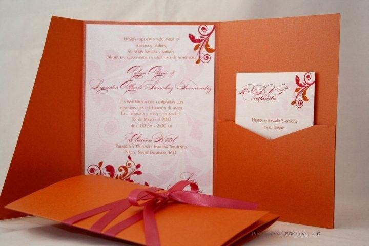 Gorgeous Orange And Pink Wedding Invitation 6 50 Via Etsy