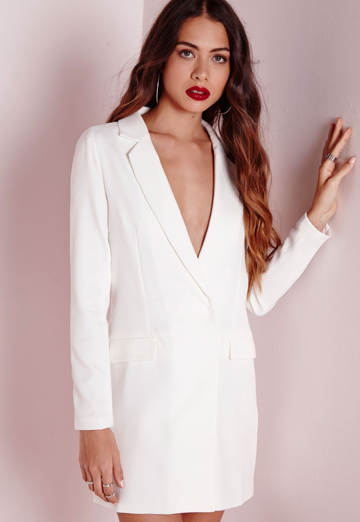 Missguided - Tall Long Sleeve Blazer Dress White | Dressed to the ...