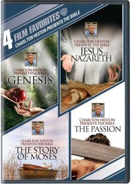 "[""<em>4 Film Favorites: Charlton Heston Presents the Bible<\/em> features four films depicting major events in biblical history, starring none other than Charlton Heston Himself. Four DVD set includes <em>Genesis<\/em>, <em>Jesus of Nazareth<\/em>, <em>The Story of Moses<\/em>, and <em>The Passion<\/em>.<br><br>\r\n<strong>Product Details<\/strong><br>\r\nSource: Warner Home Video\r\nRegion Code: 1\r\nAspect Ratio: Pre-1954 Standard (1.33.1)\r\nPresentation: Color\r\nSound: Dolby Digital…"