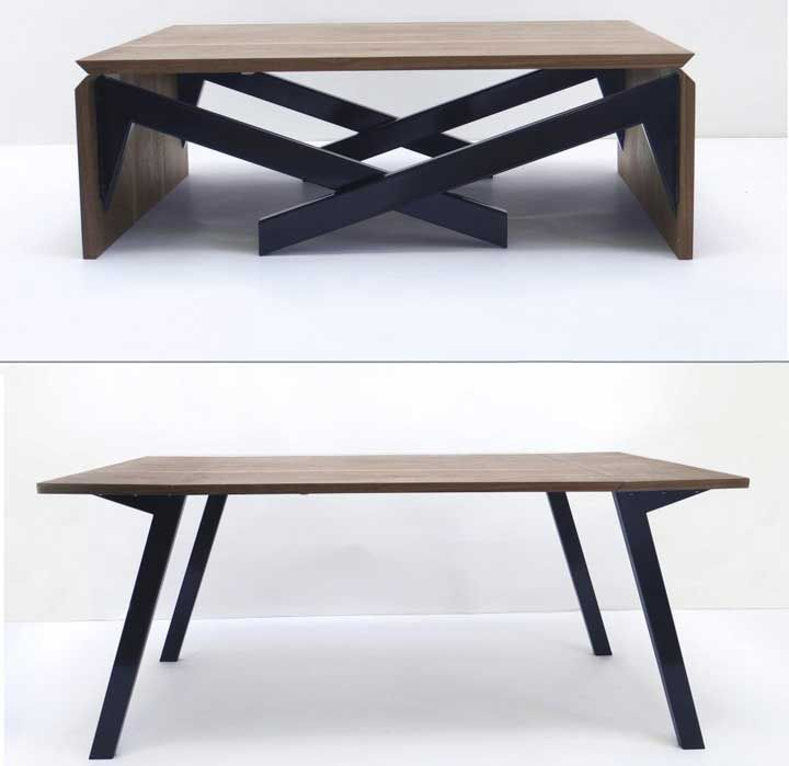 Extendable Coffee Table mk-1 transforming from coffee table to dining table and vice versa