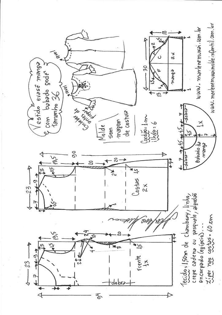 Vestido manga com babado peplum – DIY – molde, corte e costura ...