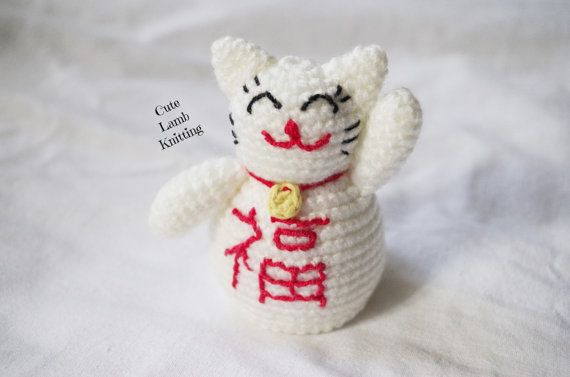 Crochet cat, amigurumi crochet toy, Chinese lucky cat, maneki neko ...