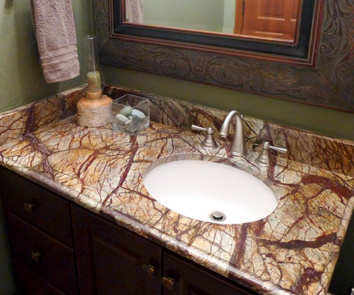 Bathroom Vanities Utah rainforest brown granite bathroom vanity | park city, ut | accent