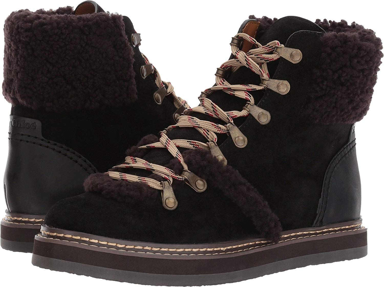 44b2a53f359 See by Chloe Women's Eileen Flat Boot W Shearling Fashion ...