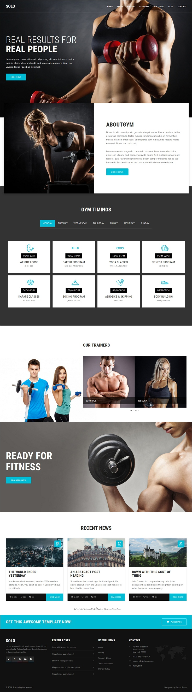 Solo - 103+ Pages HTML Bootstrap Template | Gym fitness, Soloing and ...