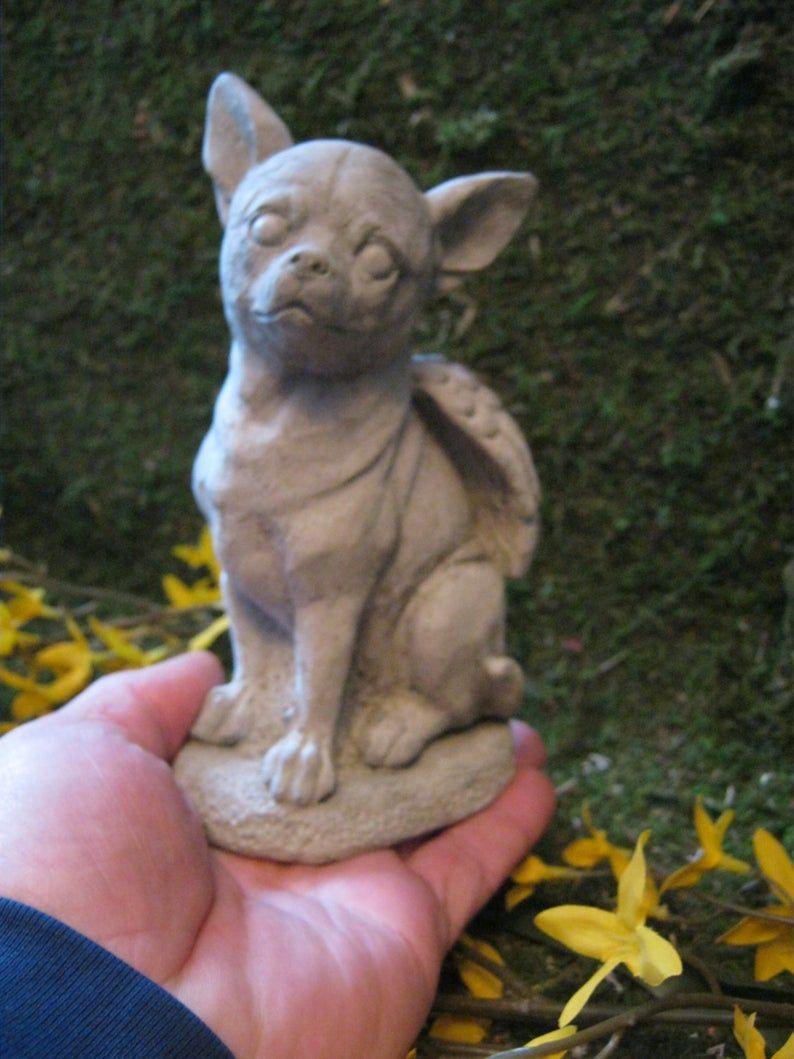 Chihuahua Dog Angel Marker White Concrete Garden Statue Cement Pet Memorial