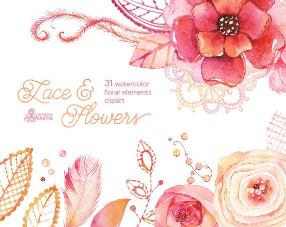 This set of 31 high quality hand painted watercolor floral elements. Flowers, lace, feathers, bead, paper and more. Perfect graphic for DIY, edding