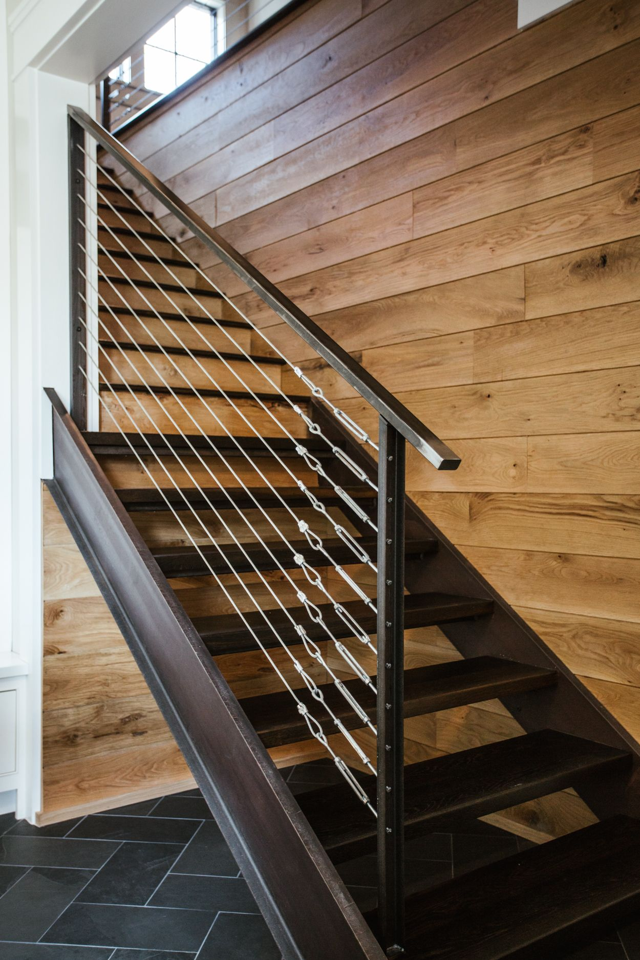 Best Modern Industrial Staircase With White Oak Nickel Gap In 400 x 300