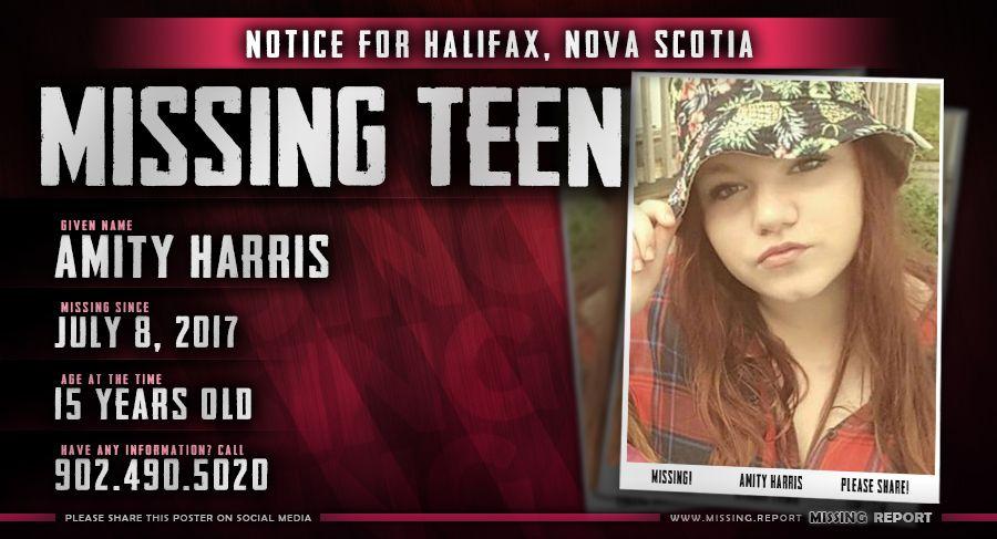 MISSING PERSON u2022 Amity Harris u2022 Halifax, Nova Scotia u2022 15 Years - missing person picture