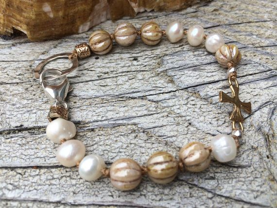 Bronze cross link bracelet, freshwater pearls, czech glass, sterling silver