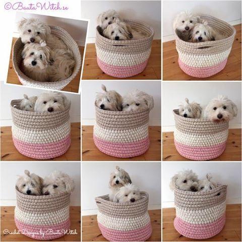 Nu finns mönstret på min förvaringskorg publicerat i bloggen! Finaste killarna är modeller!  Välkommen! BautaWitch.se/DIY  #virka #virkat #crochet #bautawitch #garn #ribbonxl #mönster #pattern #korg #basket #inredning #interiordesign #cotondetulear #valp