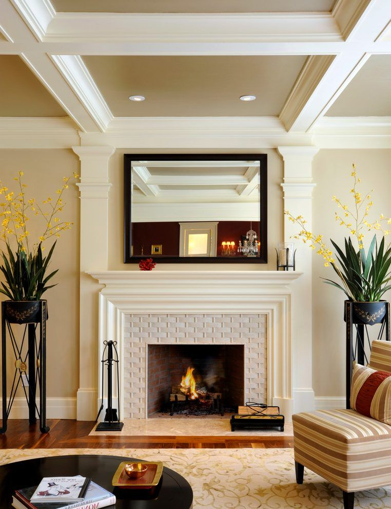 Fireplace Surround Tile Living Room Transitional With Coffered Ceiling Striped Contemporary Fireplace Mantels Transitional Fireplaces Fireplace Surrounds