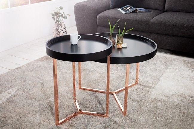 extravaganter couchtisch modul 60 cm matt schwarz kupfer. Black Bedroom Furniture Sets. Home Design Ideas