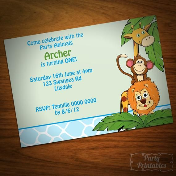 9 95 Boy Jungle Party Invitation By Partyprintables On Handmade Australia Jungle Party Party Invitations Party
