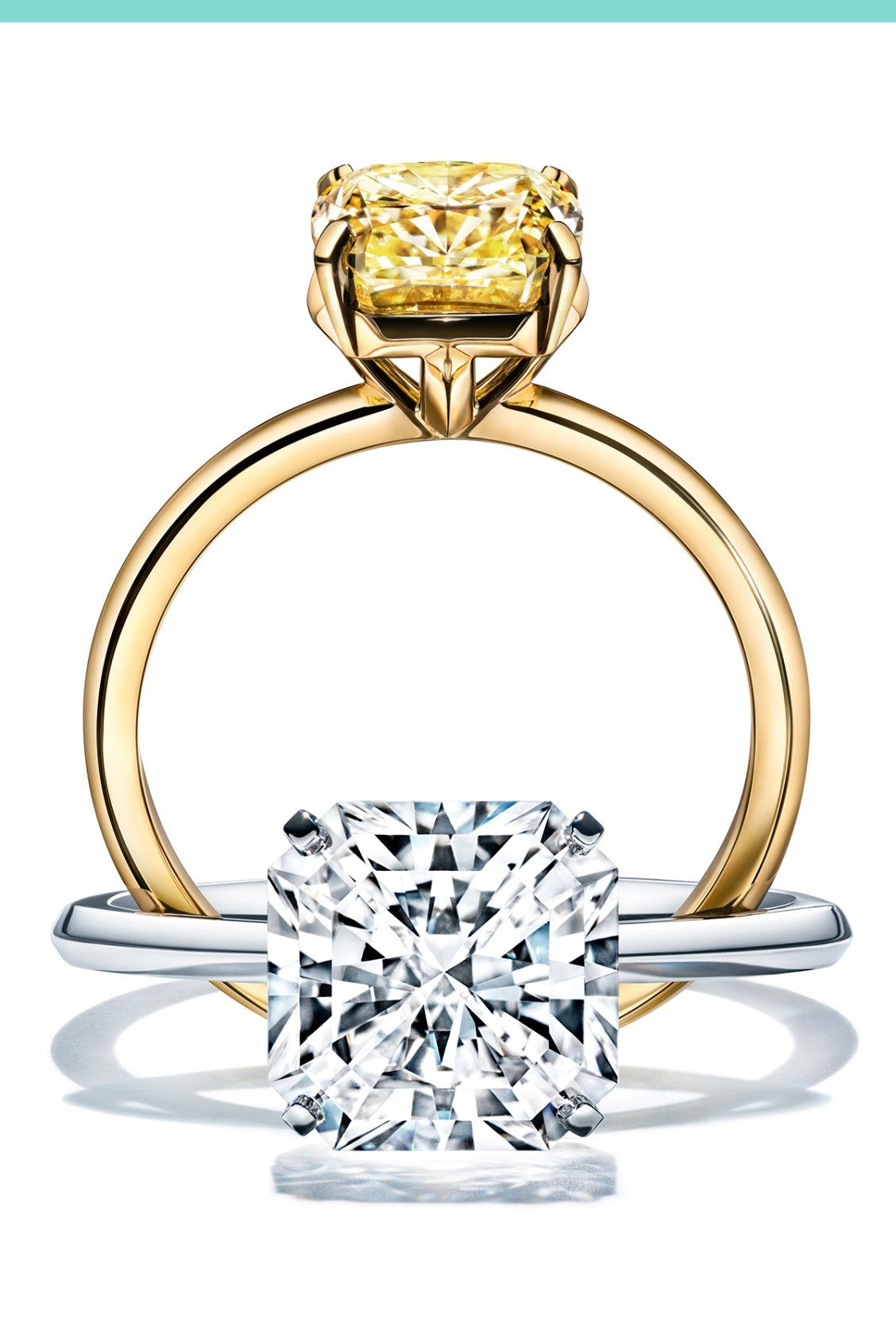 d45e4f8a0 The new Tiffany True is available in platinum with an innovative square  mixed True-cut white diamond or in 18k gold with a fancy yellow cushion  modified ...