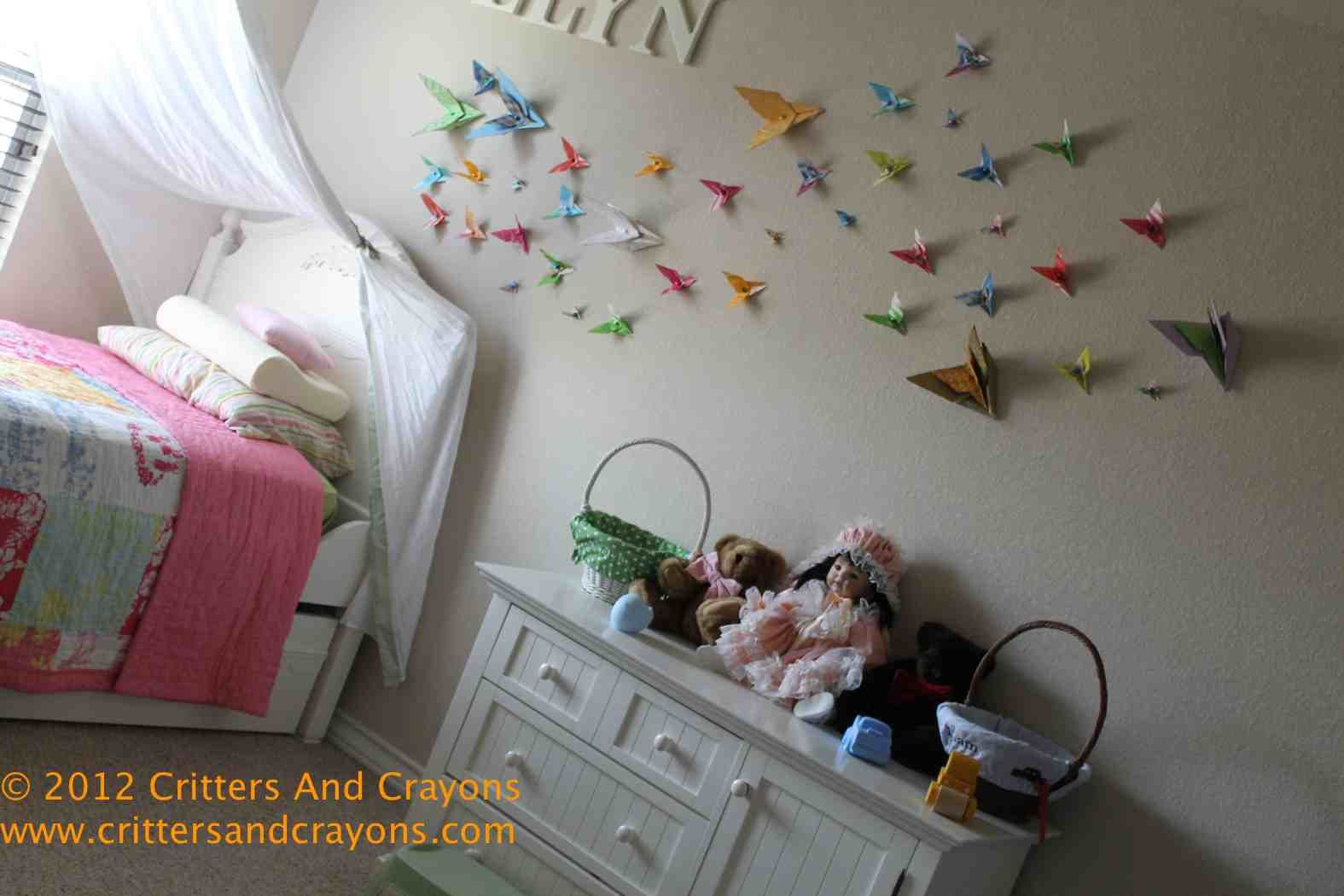 DIY Girlu0027s Room Decor: Butterfly Origami Migration